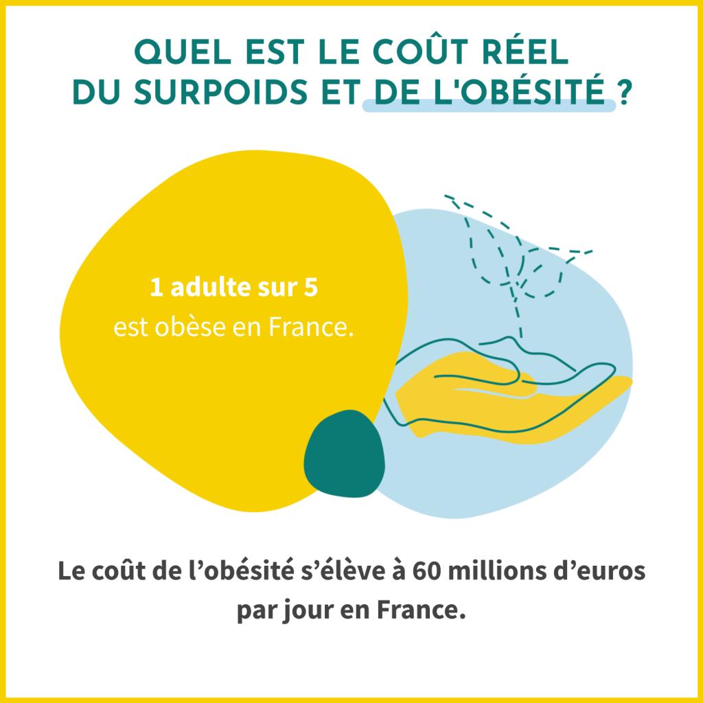 Quel est le coût réel du surpoids et de l'obésité ? 1 adulte sur 5 est obèse en France. Le coût de l'obésité s'élève à 60 millions d'euros par jour en France.