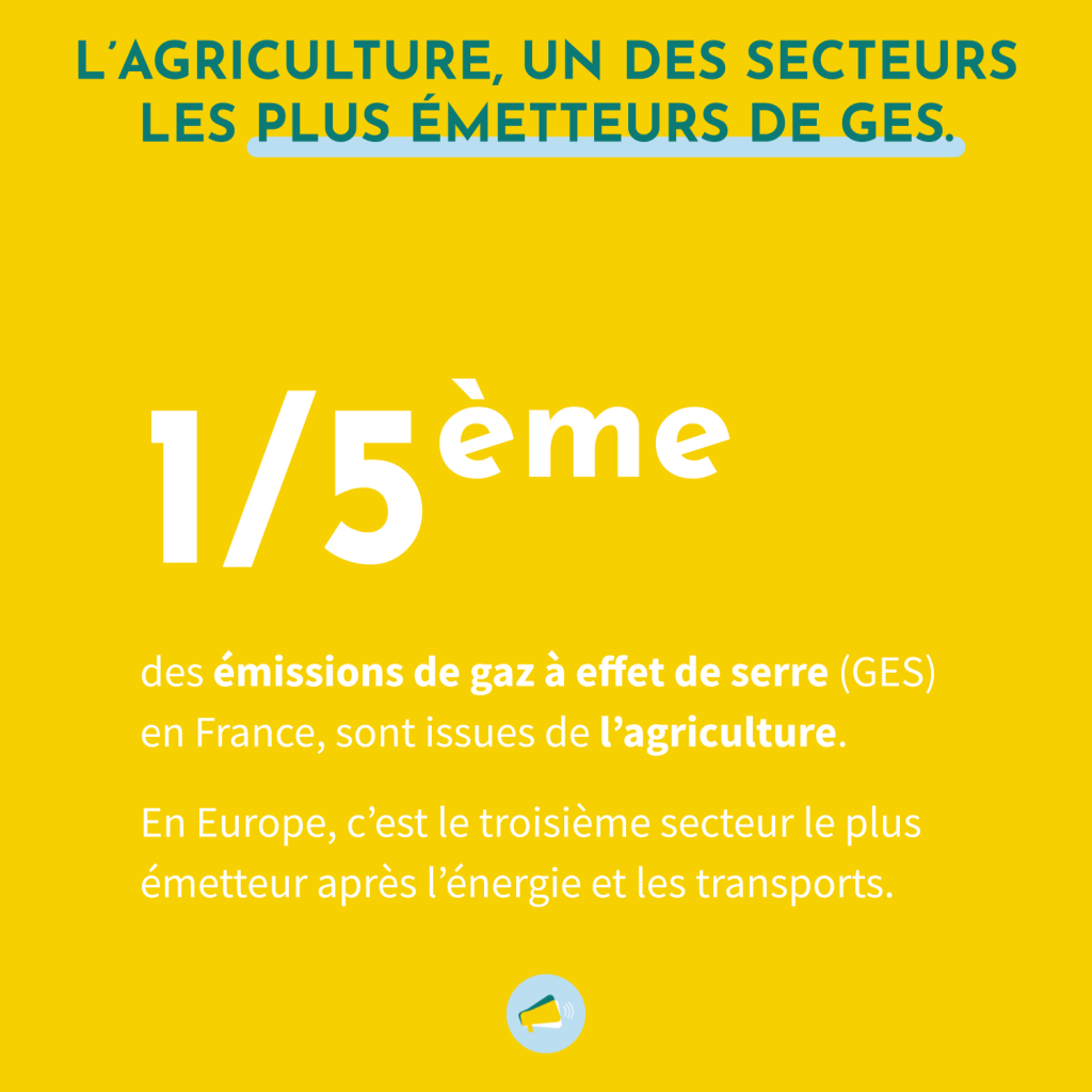 L'agriculture est un des secteurs les plus émetteurs de gaz à effet de serre. Elle représente 1/5ème des émissions de GES en France. En Europre, c'est le troisième secteur le plus émetteur après l'énergie et les transports.